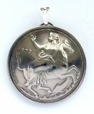 Greece Selene Moon Goddess Horse 20 Drachmai Coin Domed Pendant Greek Myth