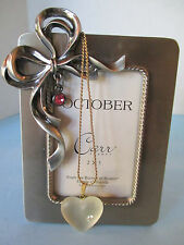 FRAME, BRUSHED SILVER WITH OCTOBER'S BIRTHSTONE + HEART GLASS PENDANT & NECKLACE