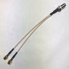 Splitter Cable F Female to Dual 2X SMA Male RG316 Cable 6 Inch Length USA