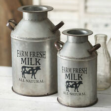 Country new large Milk Cans in Distressed Tin - Set 2
