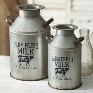 Farm Fresh Milk cans in Distressed tin - SALE