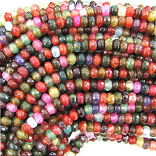 "5mm faceted watermelon tourmaline agate rondelle beads 15"" strand"
