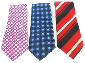 Collection of 3 Premium Men's Pure Silk Ties Assorted Colours and Designs Set 05