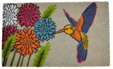 "DOOR MATS - HUMMINGBIRD IN THE GARDEN VINYL BACKED COIR DOORMAT - 18"" X 30"""