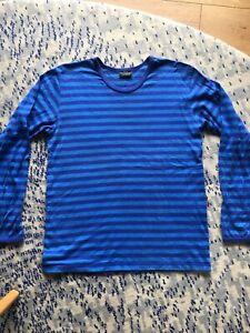 Marimekko long sleeve, blue, striped t-shirt. 100% cotton.