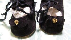 ANTIQUE! REPRODUCTION Black FELT  SHOES For COMPOSITION &  BISQUE BABY DOLLS