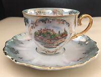 Vintage Seltmann Weiden Bavaria W Germany green/ gold tea cup saucer Salzburg