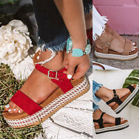 Womens Ladies Flatforms Cork Espadrille Sandals Wedge Lace Up Buckle Ankle Shoes
