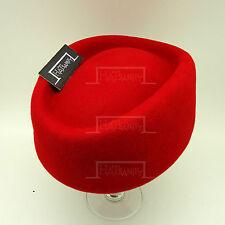 Wool Felt Women Pillbox Hat Ladies Fascinator | Red | Round | CLASSIC x ELEGANT
