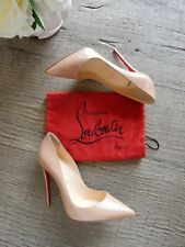 New Christian Louboutin So Kate 120 Nude Patent Point toe red sole pumps 37.5/38