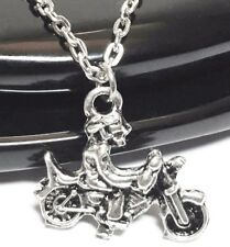 "3D BIKE_Small Pendant on 18"" Chain Necklace_Motorcycle Biker Silver harley_63N"