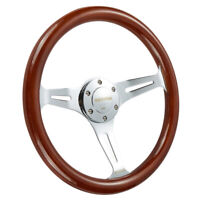 Wooden Steering Wheel 14'' Universal 350mm Wood Grain Trim Silver Chrome Spoke
