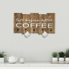 Coffee Mug Cup Holder Rack Kitchen Organizer Rustic Country Wood Sign Cafe Hooks