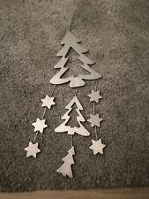Hanging Silver Christmas Tree And Star Mobile