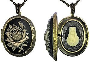 The Holy Black Rose of Santa Muerte Cameo Necklace US SELLER FAST SHIPPING !
