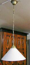 Hängelampe Messing Patiniert und Lampenschirm aus Opalglas