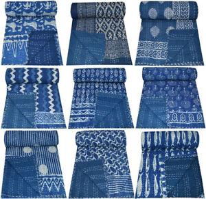 Indigo Blue Indian Kantha Quilt Bedspread Blanket Bedding Throw Reversible Quilt