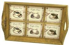 Tablett Serviertablett Küchentablett Keramik Holz Kaffee Capuchino Tablett 40 cm