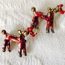 Vtg '50's Era Poodle Scatter Pins Red Enamel Detail