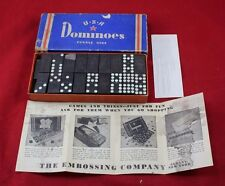 Vintage USA Dominoes Double Nine & Box Statue of Liberty Embossing Co New York