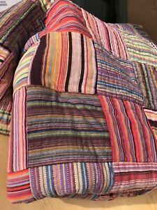King Size Quilt Company Store Patchwork Plaid Multi Color 104 x 96 Bohemian Boho