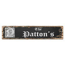 SPFN0464 The PATTON'S Family Name Street Chic Sign Home Decor Gift Ideas