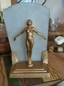 Original Art Deco Cast Gilt Lamp Base with Lady and Back Lit Light