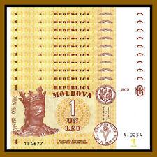 Moldova 1 Lei (leu) x 100 Pcs Bundle, 2015 P-8j Unc