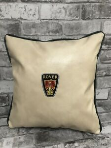 "Faux Leather  Rover 17"" Cream Cushion NEW vintage fanatic car logo green piping"