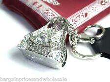 Silver White HAndbag Keyring Sparkling Rhinestone Diamante Handbag Buckle Charm