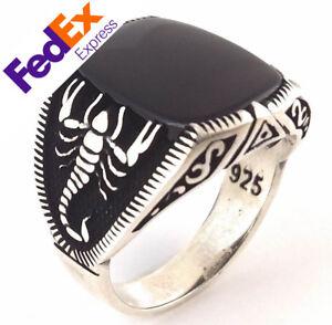 925 Sterling Silver Scorpion Turkish Handmade Onyx Men's Luxury Ring All Sizes