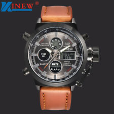Mens LED Military Quartz Sport Army Watches Analog Stainless Steel Wrist Watch Coffee