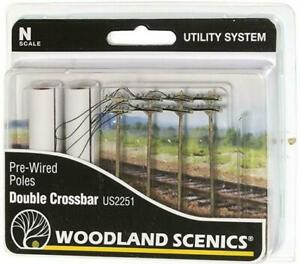 Woodland Scenics Terrain Pre-Wired Poles - Double Crossbar (N Scale) Pack New