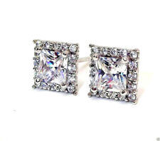 PAIR 9CT HALLMARKED WHITE GOLD PRINCESS CUT HALO STUD EARRINGS 7MM X 7MM