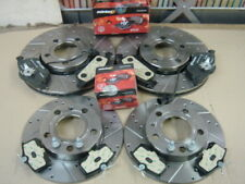 AUDI A4 1.8T SPORT B6 BRAKE DISC CROSS  DRILLED GROOVED BRAKE DISCS MINTEX PADS