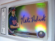NATE ROBERTS 2013 BOWMAN PLATINUM GREEN REFRACTOR AUTO ROOKIE RC #/399 GRADED 10