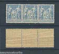 SAGE -  1877-80 YT 90 BANDE- 15c. bleu - TIMBRES NEUFS** - COTE 180,00 € - pli