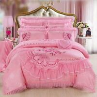 Embroidery Cotton Lace Quilt Bed Sheet 2 Pillowcase 4-piece Bedding Set Red&pink