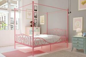 DHP Metal Canopy Bed with Sturdy Bed Frame - Full Size (Pink) / Head/ Footboard