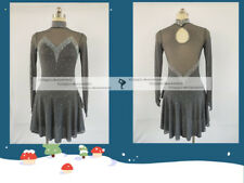 Gray Figure Skating Competition Dress Ice Skating Training Dress Girl Costume