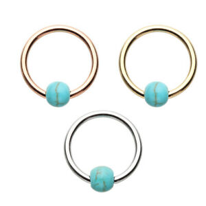 Rose Gold & Golden & Silver Synthetic Turquoise Bead Captive Ring