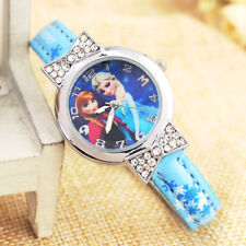 Disney Frozen Elsa & Anna Children Girls Kids Quartz Rhinestone Wrist Watch Blue