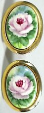 Vtg Button Cufflinks Hand Painted Tile Gold Tone Oval Pink Lavender Rose 1950s
