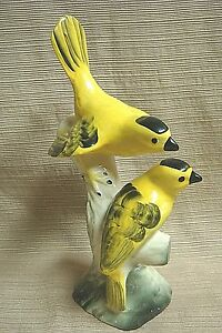 1940s MADDUX 2 Yellow Birds / Goldfinches on Branch - Signed CALIFORNIA POTTERY