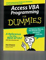Access VBA Programming for Dummies by Alan Simpson (2004, Paperback, Minimal Use