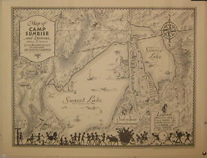 Rare Vintage 1940 PICTORIAL 'Map of CAMP SUNRISE Vermont' BOY SCOUTS of AMERICA