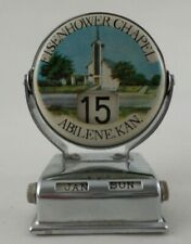 Vintage Litho Tin Perpetual Flip Desk Top Calendar Eisenhower Chapel Abilene KS