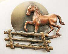 VINTAGE K&T HORSE STALLION METAL BROOCH SIGNED