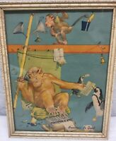 Vintage 1940's-50's Era Print Lawson Wood Monkey Penguin BUSINESS IS GOOD