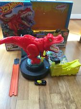 Hot Wheels T-Rex Rampage Playset Used 100% Complete With Instructions And Box